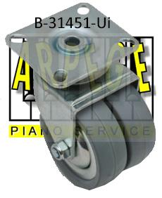 B-31451-Ui : Roue pour piano droit, roulette double, grande, en caoutchouc, avec plaque, diamètre 75 mm, hauteur totale 100 mm, pour piano droit