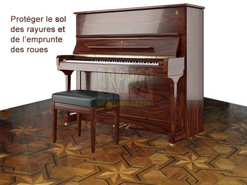 Protéger le sol des dommages causés par les roues ou des points de contact du piano