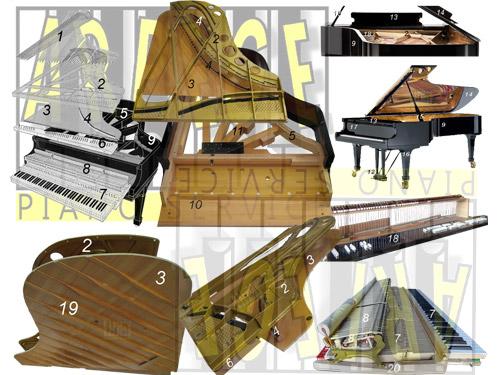 Plans de coupe numérotés de la structure harmonique ou bloc lutherie d'un piano à queue, avec nomenclature