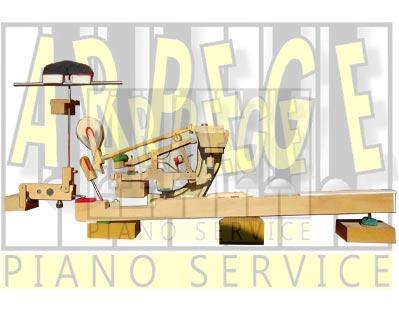 Coupe de mécanique, clavier, étouffoirs de piano à queue, support didactique