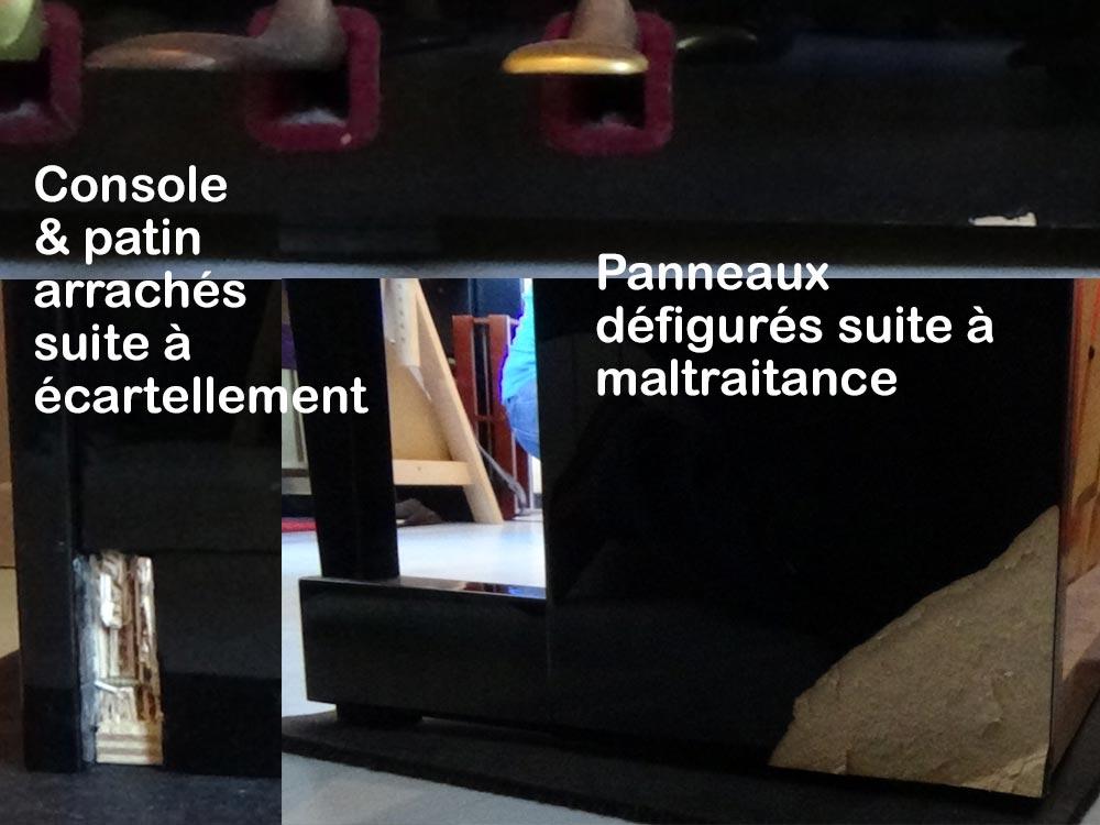 Piano Rameau endommagé lors d'un transport par une équipe peu zélée.