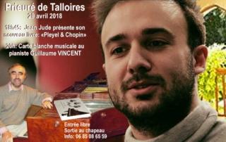 """Prieuré de Talloires le 29 avril 2018: Jean Jude de son nouveau livre """"Pleyel & Chopin"""". Carte blanche au pianiste Guillaume Vincent. Entrée libre, sortie au chapeau"""