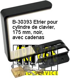 Serrure noire Étrier pour piano, 175 mm avec cadenas B-30393LCK