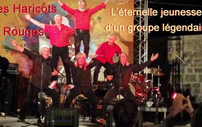 Les Haricots Rougesen concert à Fort L'Ecluse, Pays de Gex, : Pierre Jean (trompette, piano, accordéon, chant). Christophe Deret (trombone, chant). Alain Meaume (clarinette, chant). Michel Sénamaud (batterie, chant) Alain