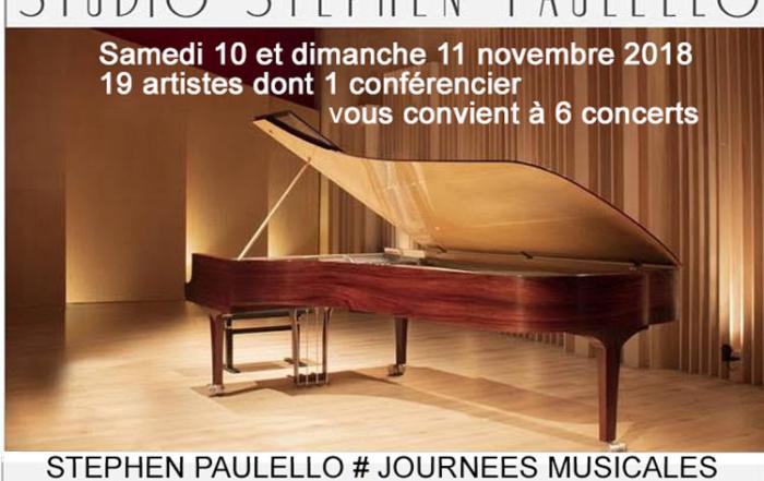 19 artistes dont 1 cSTEPHEN PAULELLO # JOURNEES MUSICALES - Samedi 10 et dimanche 11 novembre 2018