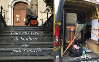 Transport de piano pour célébration mariage en l'église de Talloires, lac d'Annecy