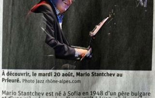 """Concert Mario Stantchev """"Piano solo"""" au Prieuré de Talloires le 20 aout 19, article du Dauphiné Libérés"""