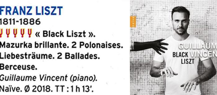 5 diapasons pour le CD Liszt de Guillaume VINCENT - Article de Jean-Yves Clément dans la revue Diapason de février 2020
