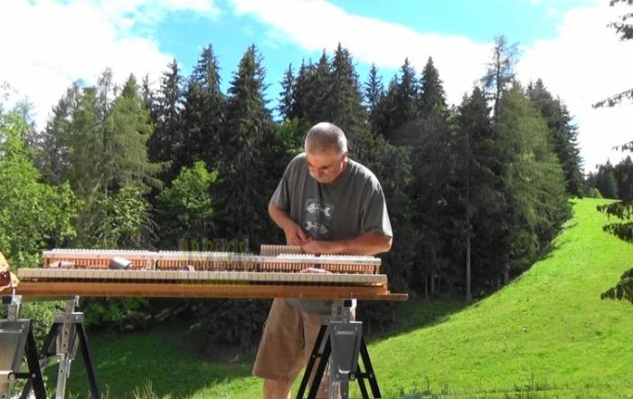 Préparation mécanique de piano à queue, pour stages musicaux en altitude: ponçage des marteaux, affutage des ressorts de répétition, fartage des rouleaux.