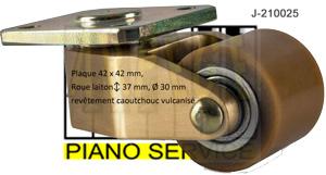 roulette de piano droit, laiton, caoutchouc vulcanisé- J-210025