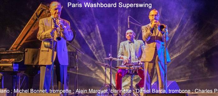 Paris Washboard Superswing : Louis Mazetier, piano ; Michel Bonnet, trompette ; Alain Marquet, clarinette ; Daniel Barda, trombone ; Charles Prévost, washboard.